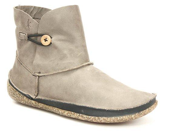 Bota feminina em couro Wuell Casual Shoes  - YORI 7175 - cinza e preta