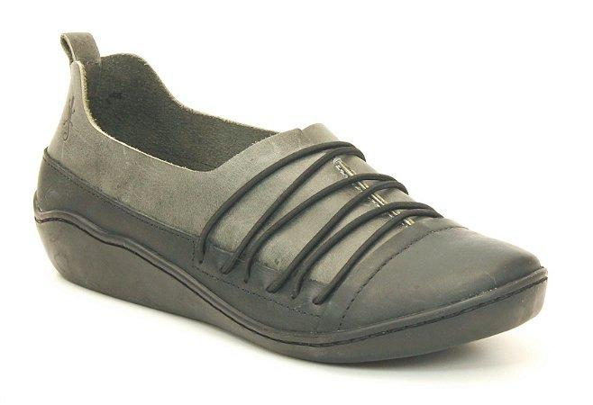 Sapato feminino em couro Wuell Casual Shoes  - SAMI 78810 - cinza e preto