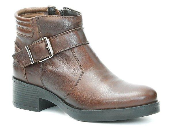 Bota  de Salto Feminina em Couro Wuell Casual Shoes - Nuna - 0316 - marrom