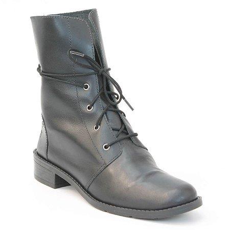 Bota Coturno Feminino em Couro Wuell Casual Shoes - Pacha - 5550 - preta