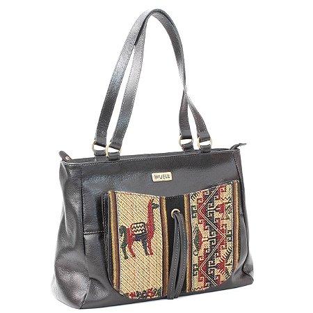 Bolsa em Couro Feminina com Tecido Wuell Casual Shoes - Killa - 6630 - preta