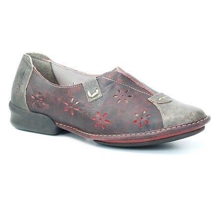 Sapato Feminino em couro Wuell Casual Shoes - KOYA - QC 1400 - vermelho e marrom