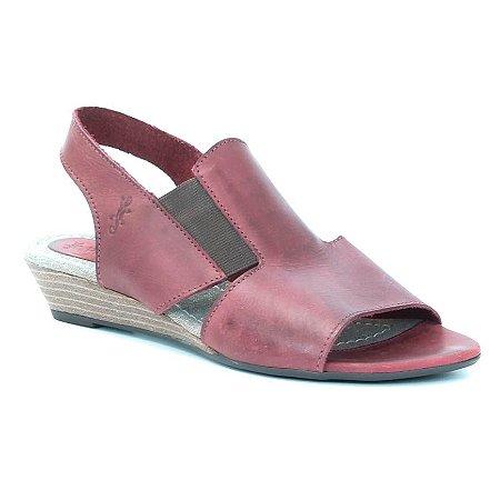 Sandália Feminina Salto Anabela em couro Wuell Casual Shoes - SISA - VN 088305 - vermelha