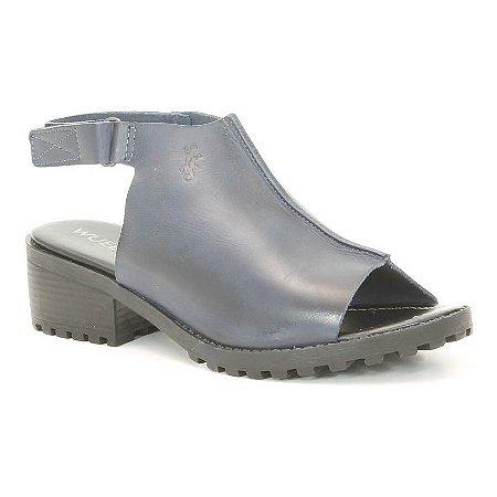 Sandália Feminina de salto médio em couro Wuell Casual Shoes -  VN 071407 - marinho