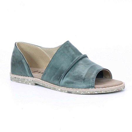 Sandália Rasteira Feminina em couro Wuell Casual Shoes - Rhea - BS 05010 - verde