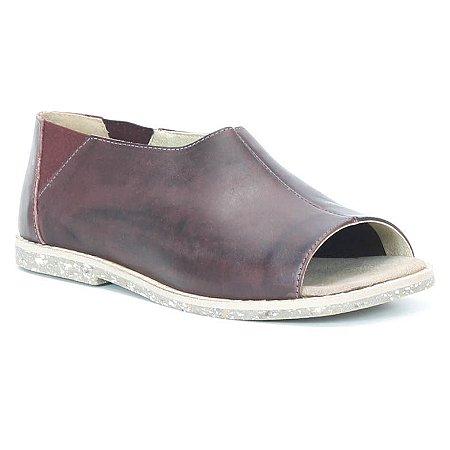 Sandália Rasteira Feminina em couro Wuell Casual Shoes - Rhea - BS 35332 - vinho