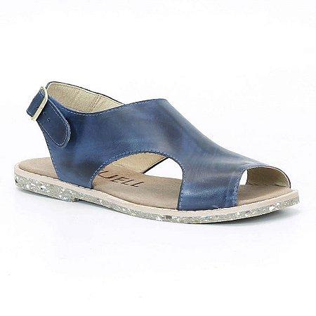 Sandália Rasteira Feminina em couro Wuell Casual Shoes - Rhea - BS 03132 - azul