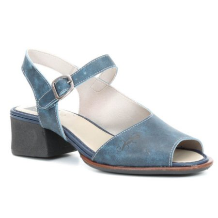Sandália Feminina de Salto Médio em couro Wuell Casual Shoes - Cris - ND 0200 - Azul
