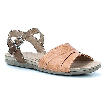 Sandália Rasteira Feminina em Couro Wuell Casual Shoes - TI 60237 - citrico e castor