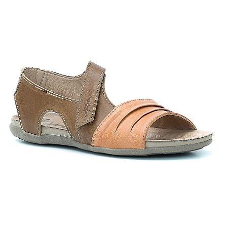 Sandália Rasteira Feminina em Couro Wuell Casual Shoes - Prios - TI 60337 - citrico e castor