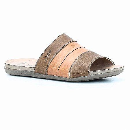 Sandália Rasteira Feminina em Couro Wuell Casual Shoes - Prios - TI 60437 - citrico e castor