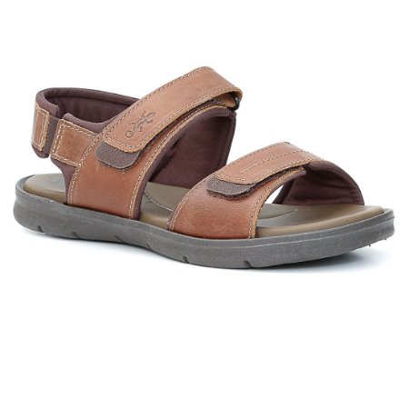 Sandália Papete Masculina em Couro Wuell Casual Shoes - TI 40217 - whisky