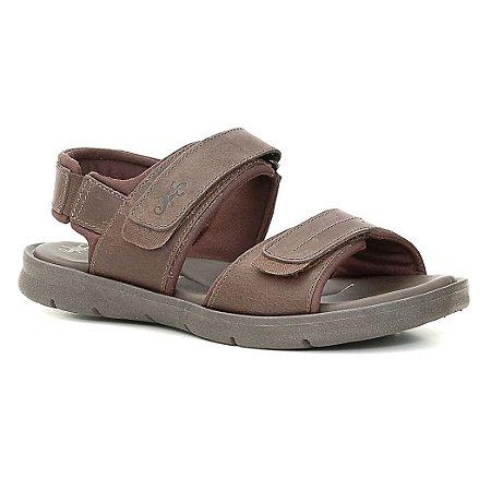 Sandália Papete Masculina em Couro Wuell Casual Shoes - TI 40217 - tabaco