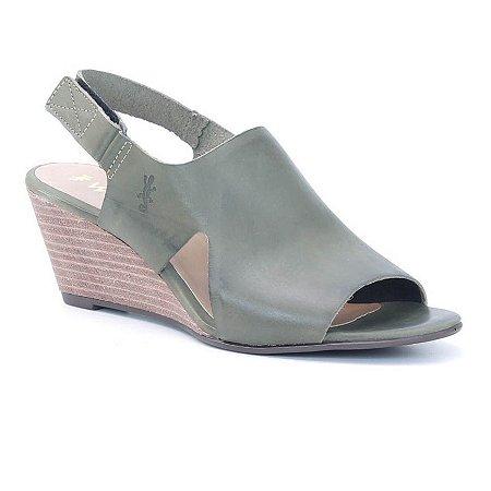 Sandália Feminina Salto Anabela em couro Wuell Casual Shoes - Ceros - VN 167400 - verde