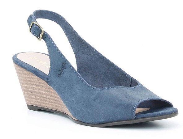 Sandália Feminina Salto Anabela em couro Wuell Casual Shoes - Ceros - VN 151400 - marinho