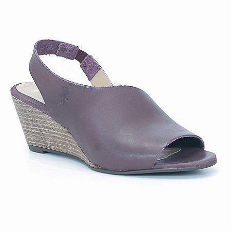 Sandália Feminina Salto Anabela em couro Wuell Casual Shoes - Ceros - VN 150400 - bordô