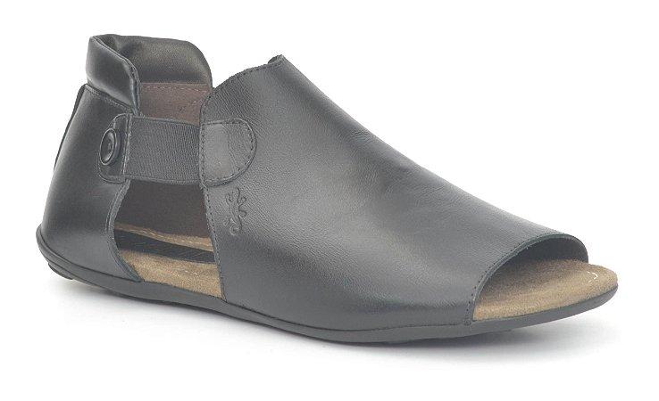 Sandália Rasteira Feminina em couro Wuell Casual Shoes - NV 103210 - preta