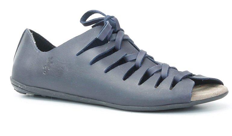 Sandália Rasteira Feminina em Couro Wuell Casual Shoes VN 101210 - marinho