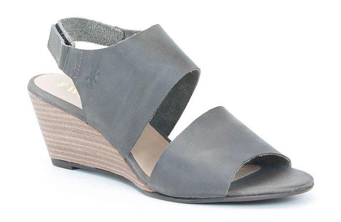 Sandália Anabela Feminina em couro Wuell Casual Shoes - Ceros - VN 153400 - cinza