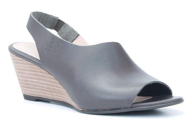 Sandália Feminina Salto Anabela em couro Wuell Casual Shoes - VN 150400 - café