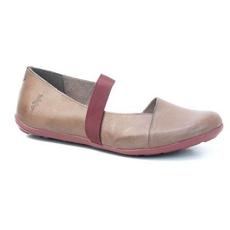 Sapatilha Feminina em couro Wuell Casual Shoes - Classic - VN 028620 - marrom e bordô
