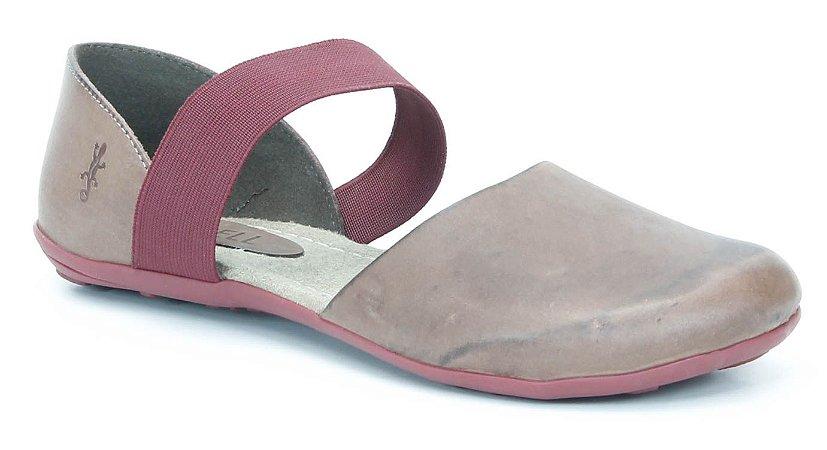 Sapatilha feminina em couro Wuell Casual Shoes - VN 023620 - marrom e bordô