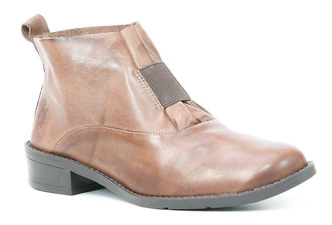 Bota de salto baixo Feminina em Couro Wuell Casual Shoes - FITZ ROY - BZ 5650 - marrom