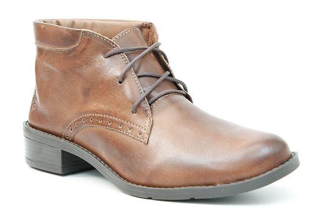 Bota Feminina cano baixo em Couro Wuell Casual Shoes - BZ 4850 - marrom