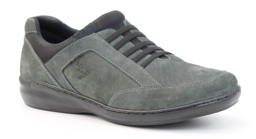 Sapato Masculino em couro Wuell Casual Shoes - zapaleri- 10540 - jeans e preto