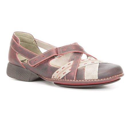 Sapato Feminino em couro Wuell Casual Shoes - Cris - AD 0900 - vermelho e areia