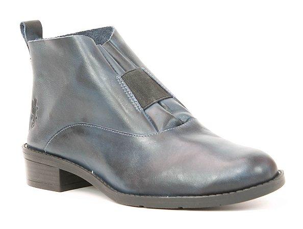 Bota Feminina de salto baixo em Couro Wuell Casual Shoes - FITZ ROY - BZ 5650 - marinho