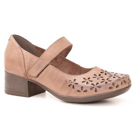 Sapato Feminino salto médio em couro Wuell Casual Shoes - PUNTA ARENAS - VN 024651 - marrom