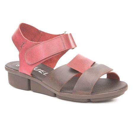 Sandália anabela Feminina em Couro Wuell Casual Shoes -  PERITO MORENO - RO 06611 -  vermelha e marrom