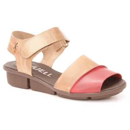 Sandália anabela Feminina em Couro Wuell Casual Shoes - PERITO MORENO - RO 03511 - vermelho e areia
