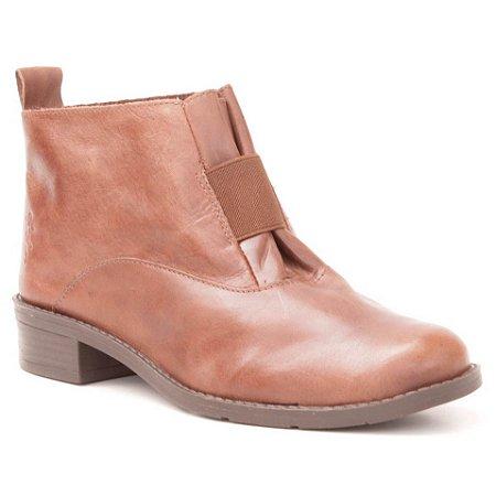 Bota de salto baixo Feminina em Couro Wuell Casual Shoes - FITZ ROY - BZ 5650 - marrom rústico