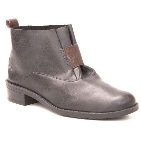 Bota de salto baixo Feminina em Couro Wuell Casual Shoes - FITZ ROY - BZ 5650 - preto rústico