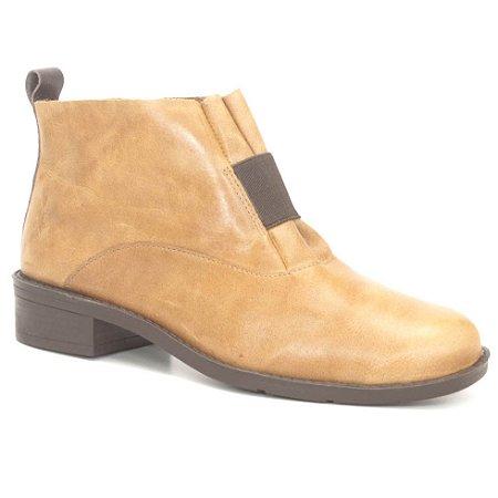 Bota de salto baixo Feminina em Couro Wuell Casual Shoes - FITZ ROY - BZ 5650 - ambar rústico