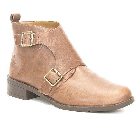 Bota de salto baixo Feminina em Couro Wuell Casual Shoes -  FITZ ROY - BZ 6750 - marrom rústico