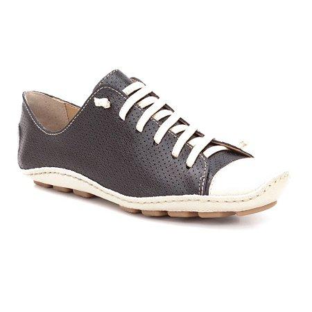Sapatenis Feminino em Couro Wuell Casual Shoes - Madri 301 - marfim e preto
