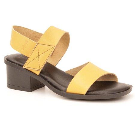 Sandália Feminina salto médio em couro Wuell Casual Shoes - Mucugê - LEB 10735 - amarela