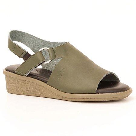 Sandália Anabela Feminina em couro Wuell Casual Shoes - Mucugê - LEB 012349 - verde