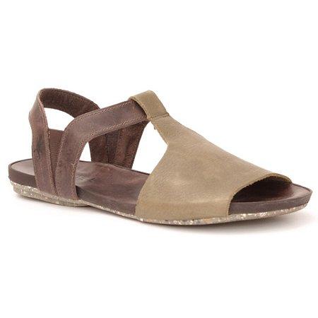 Sandália Rasteira Feminina em Couro Wuell Casual Shoes - Contas - VC 60110 - marrom e verde