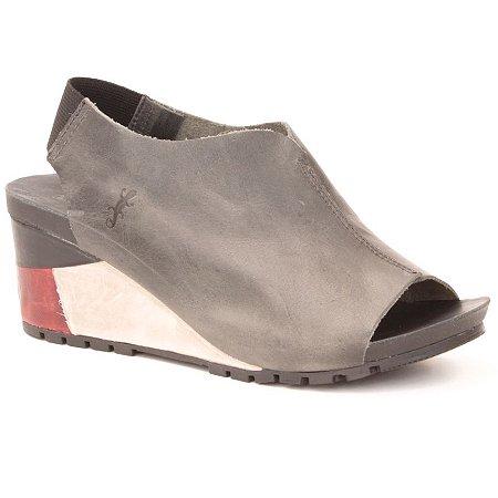 Sandália salto anabela Feminina em Couro Wuell Casual Shoes - Contas - VC 06170 - carbono
