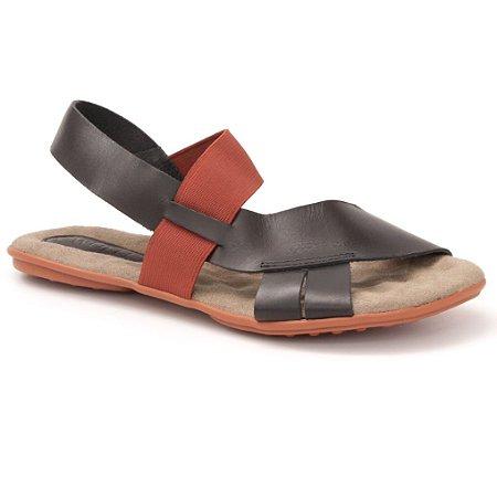 Sandália Feminina em couro Wuell Casual Shoes - Andaraí -  VN 349232 - preto e vermelho