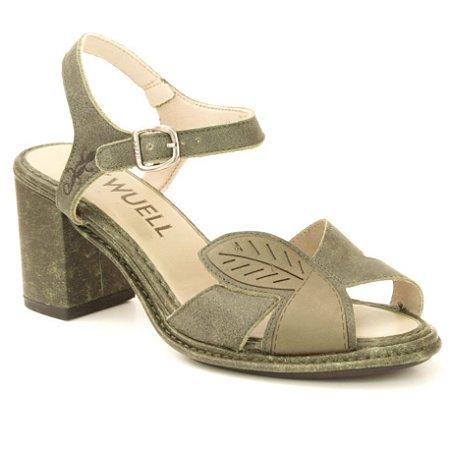 Sandália Feminina salto alto em couro Wuell Casual Shoes - Castelo - JBE 0200 - verde