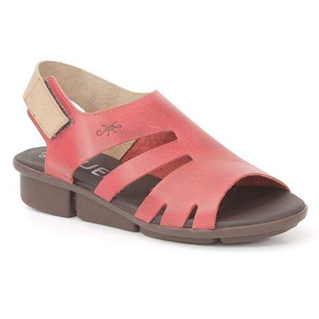 Sandália anabela Feminina em Couro Wuell Casual Shoes - Pati - RO 05211 - vermelho e areia