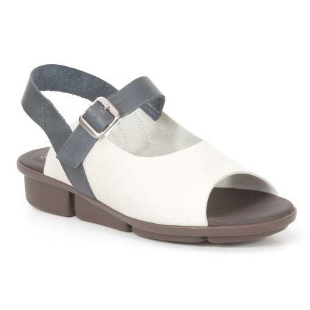 Sandália anabela Feminina em Couro Wuell Casual Shoes - Pati - RO 06311 - off white e marinho