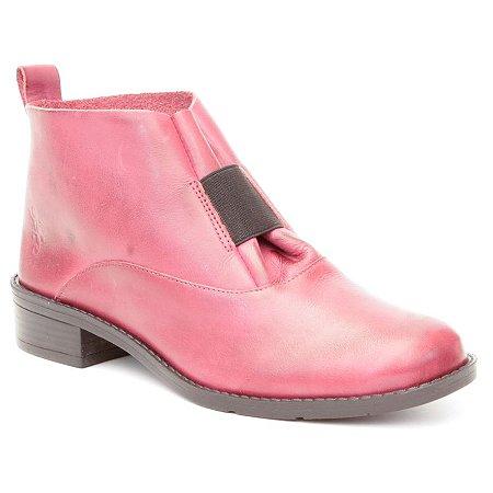 Bota de salto baixo Feminina em Couro Wuell Casual Shoes - BZ 5650 - vermelho grená