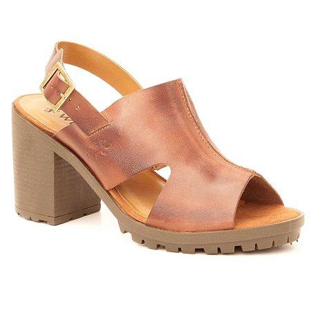 Sandália Feminina com salto alto em Couro Wuell Casual Shoes - Lençóis - BZ 8226 - marrom rústico