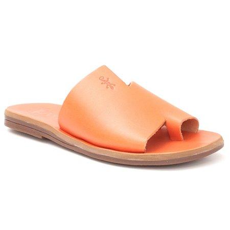 Sandália Rasteira Feminina em Couro Wuell Casual Shoes – Capão - MIZ 9317 – laranja full